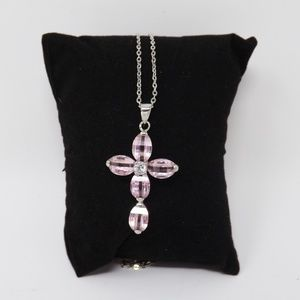 "Jewelry - Cubic Zirconia Pink Cross Pendant 16"" Silver Chain"